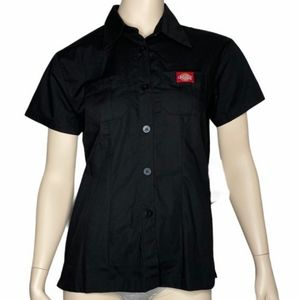 Dickies Button Up Fitted Short Sleeve Shirt Blouse